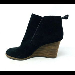 Lucky Brand Black Wedge Suede Pull-on Booties 8.5
